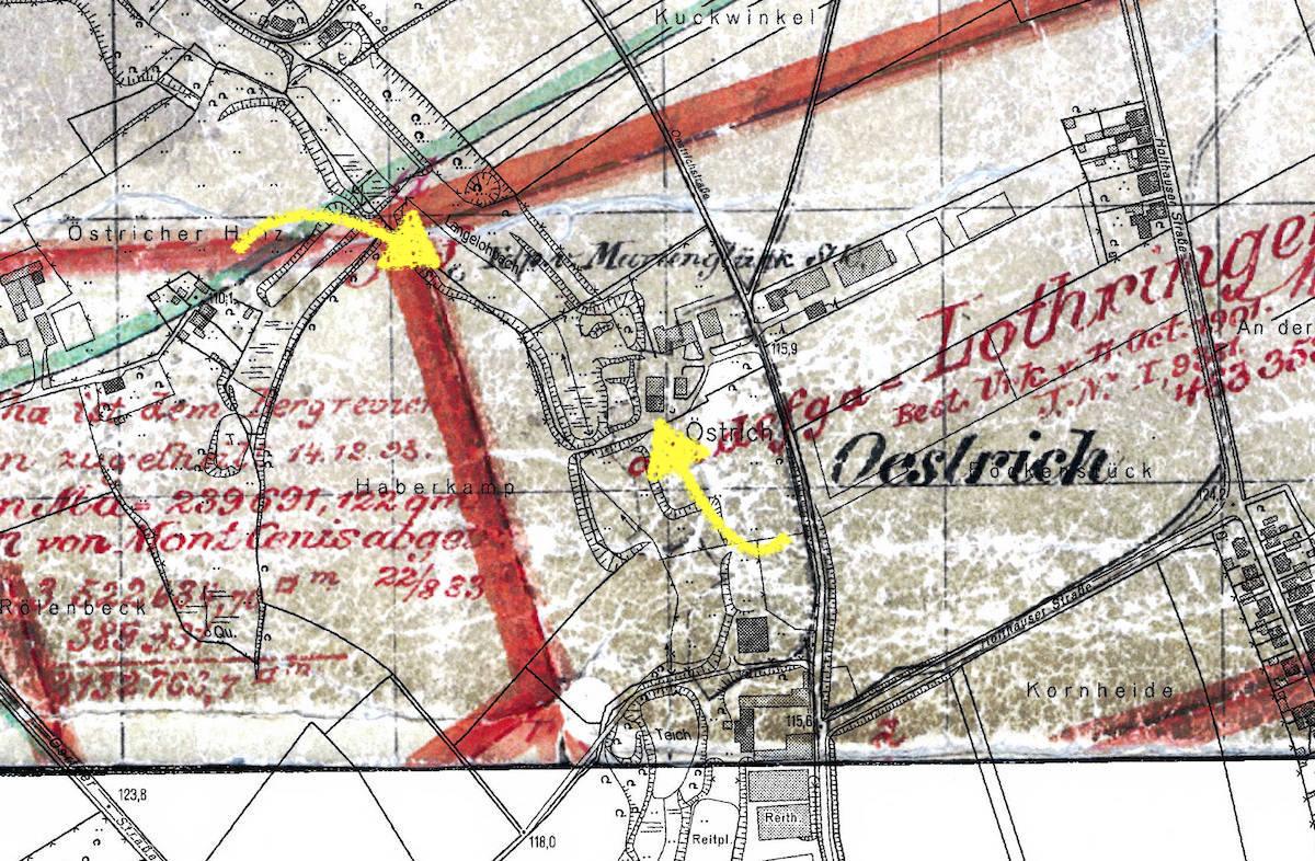 Plan von Hof Waning mit der Mutung Marienglück