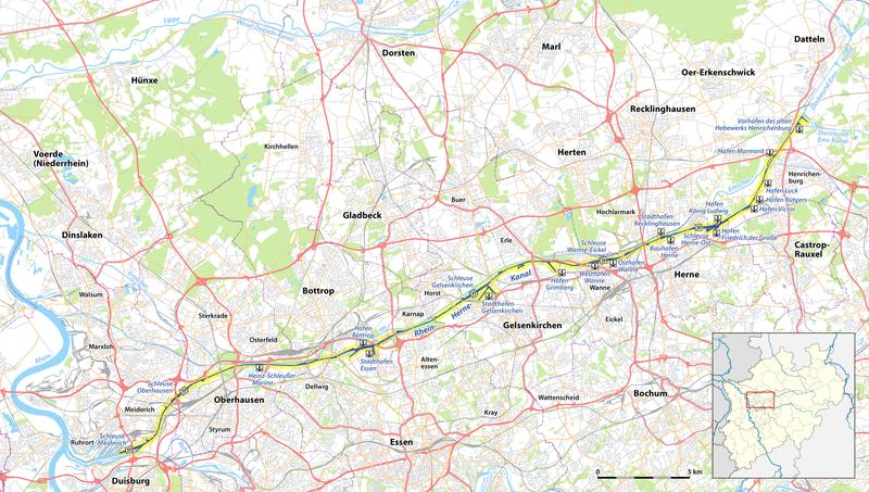 Herne Karte.Datei Karte Des Rhein Herne Kanals Png Hist Verein Herne Wanne