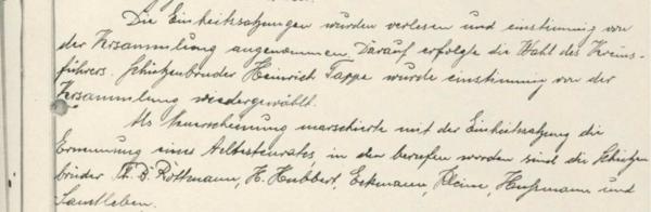 Ausschnitt aus dem Protokoll von 1935 [1]