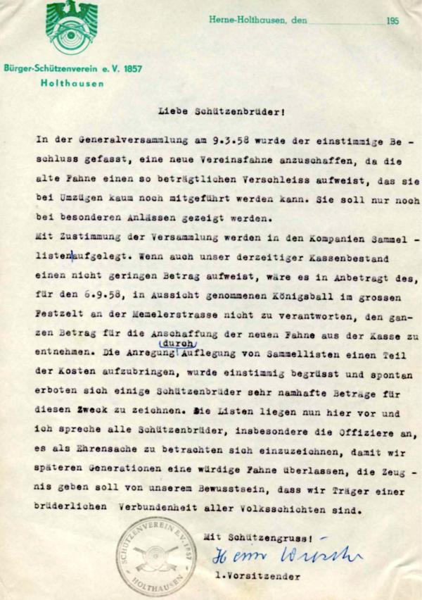 """""""Bitt-Brief"""" des 1. Vorsitzenden für Spenden zur neuen Vereinsfahne [1]"""