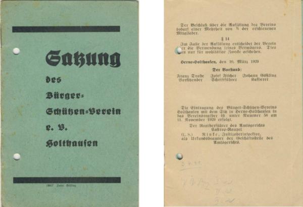 Die erste und die letzte Seite der Satzung von 1929 [1]