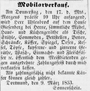 Dortmunder Anzeiger amtliches Kreisblatt 26 (12 3 1853) 21 Dortmund-Haus Gysenberg.png
