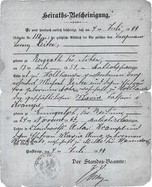 Datei:Heirats-Bescheinigung Reiter Krampe.jpg