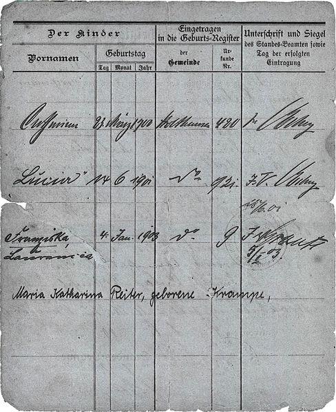 Datei:Rückseite Heirats-Bescheinigung Reiter Krampe.jpg